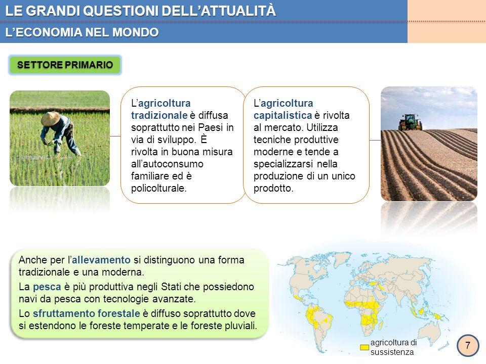 LE GRANDI QUESTIONI DELL'ATTUALITÀ L'ECONOMIA NEL MONDO 7 SETTORE PRIMARIO agricoltura di sussistenza L'agricoltura tradizionale è diffusa soprattutto