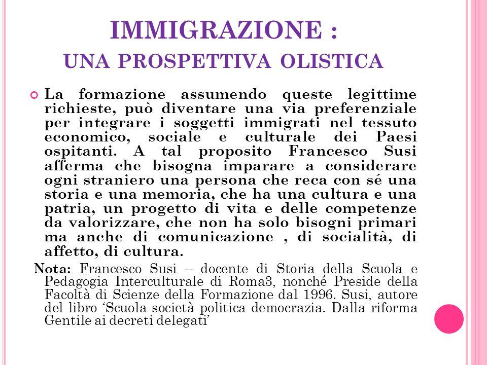 IMMIGRAZIONE : UNA PROSPETTIVA OLISTICA La formazione assumendo queste legittime richieste, può diventare una via preferenziale per integrare i soggetti immigrati nel tessuto economico, sociale e culturale dei Paesi ospitanti.