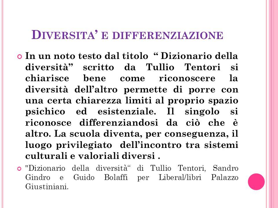 D IVERSITA ' E DIFFERENZIAZIONE In un noto testo dal titolo Dizionario della diversità scritto da Tullio Tentori si chiarisce bene come riconoscere la diversità dell'altro permette di porre con una certa chiarezza limiti al proprio spazio psichico ed esistenziale.