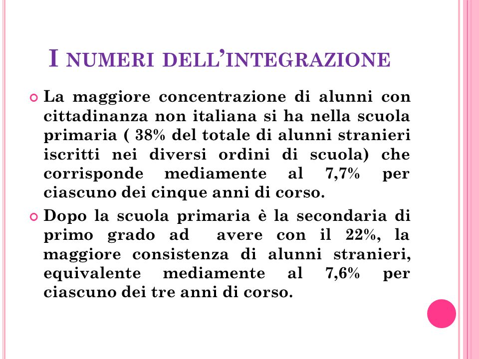 I NUMERI DELL ' INTEGRAZIONE La maggiore concentrazione di alunni con cittadinanza non italiana si ha nella scuola primaria ( 38% del totale di alunni stranieri iscritti nei diversi ordini di scuola) che corrisponde mediamente al 7,7% per ciascuno dei cinque anni di corso.