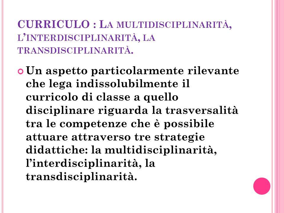 CURRICULO : L A MULTIDISCIPLINARITÀ, L ' INTERDISCIPLINARITÀ, LA TRANSDISCIPLINARITÀ.
