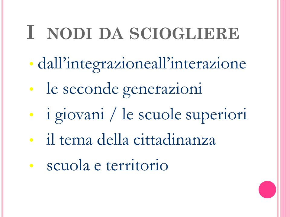 I NODI DA SCIOGLIERE dall'integrazioneall'interazione le seconde generazioni i giovani / le scuole superiori il tema della cittadinanza scuola e territorio