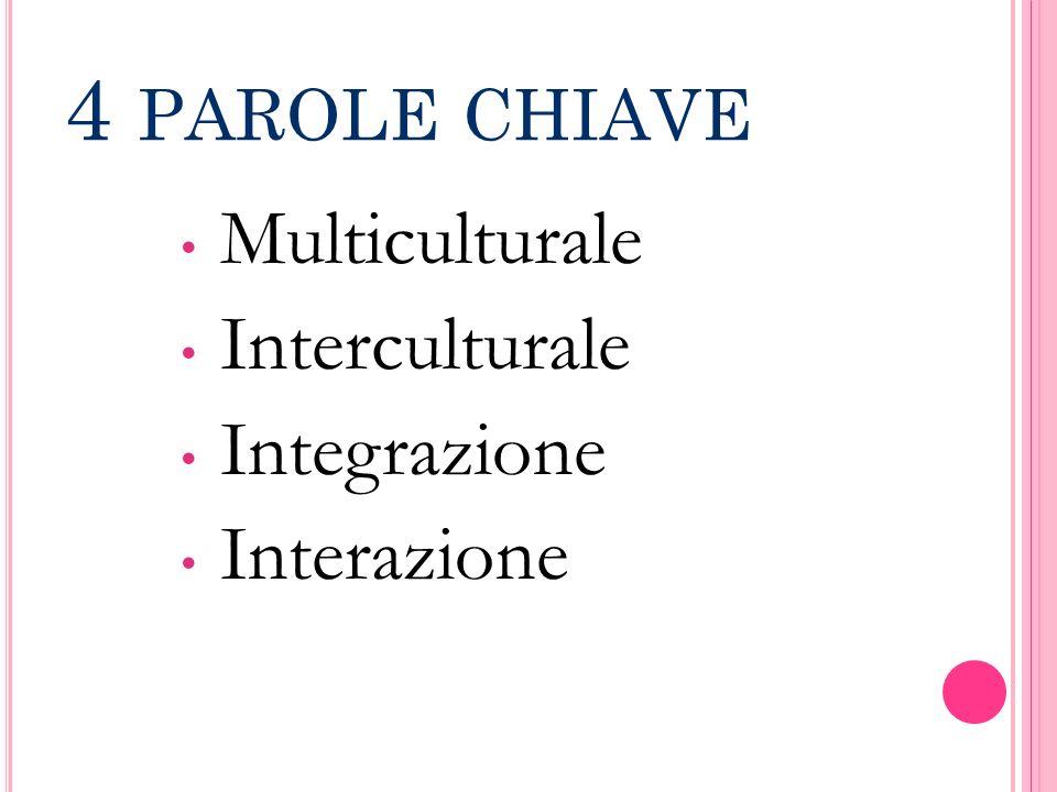 4 PAROLE CHIAVE Multiculturale Interculturale Integrazione Interazione