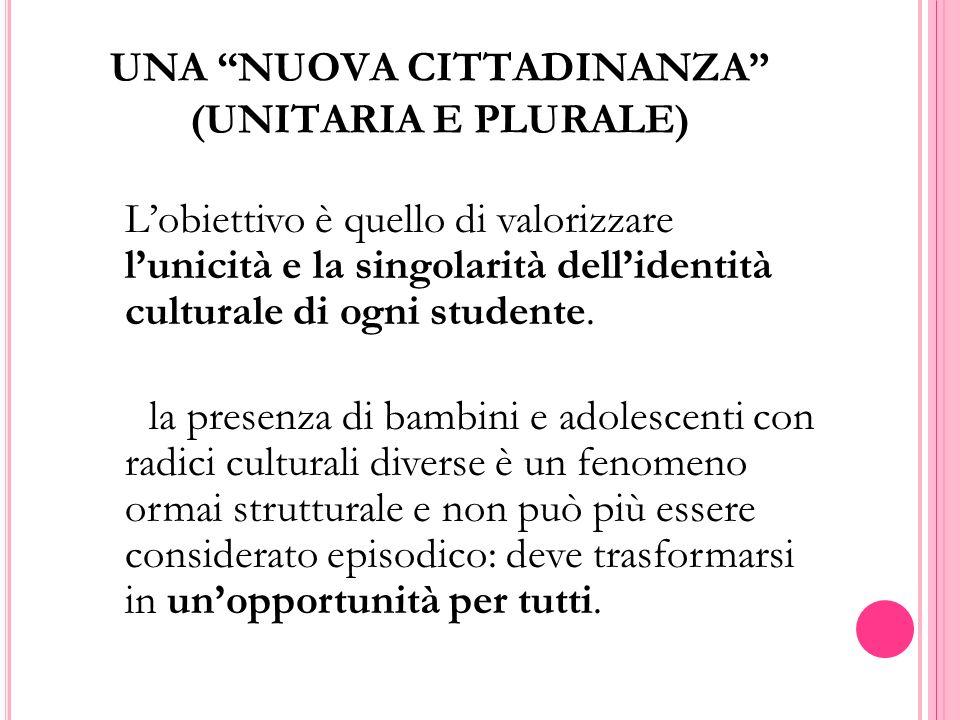 UNA NUOVA CITTADINANZA (UNITARIA E PLURALE)  L'obiettivo è quello di valorizzare l'unicità e la singolarità dell'identità culturale di ogni studente.