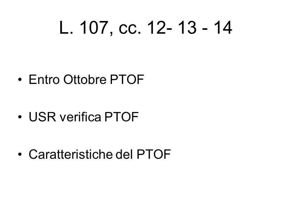 L. 107, cc. 12- 13 - 14 Entro Ottobre PTOF USR verifica PTOF Caratteristiche del PTOF