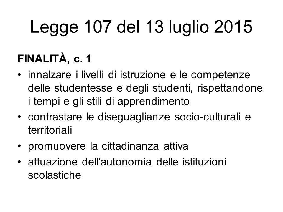Legge 107 del 13 luglio 2015 FINALITÀ, c.