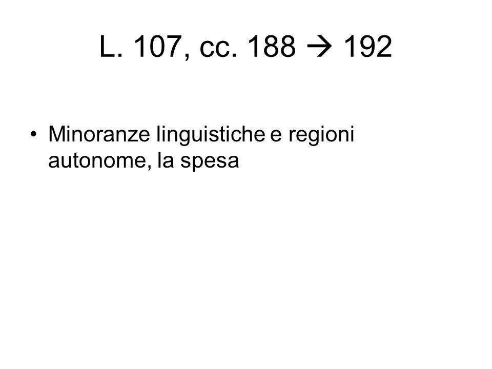 L. 107, cc. 188  192 Minoranze linguistiche e regioni autonome, la spesa