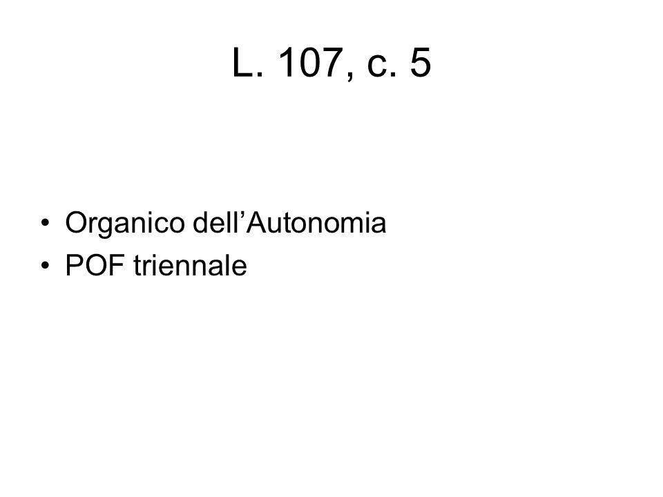 L. 107, c. 5 Organico dell'Autonomia POF triennale