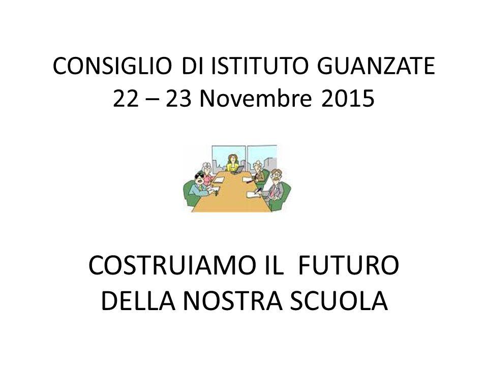 CONSIGLIO DI ISTITUTO GUANZATE 22 – 23 Novembre 2015 COSTRUIAMO IL FUTURO DELLA NOSTRA SCUOLA