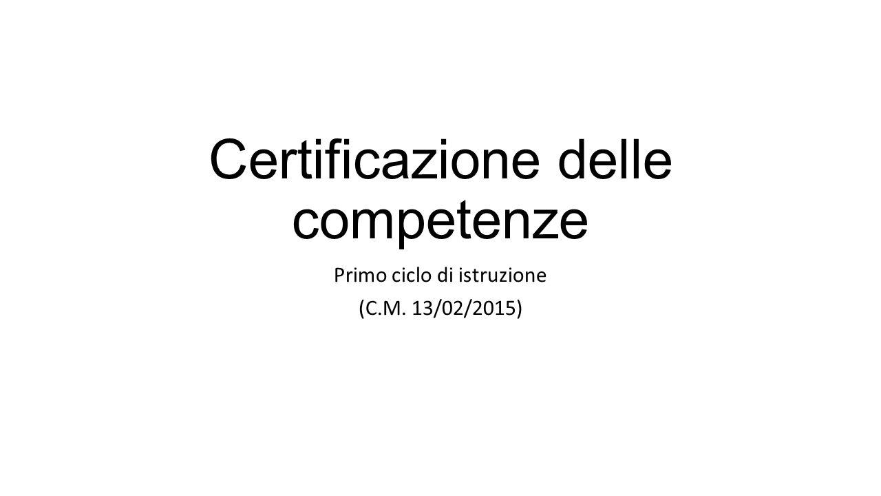 Certificazione delle competenze Primo ciclo di istruzione (C.M. 13/02/2015)