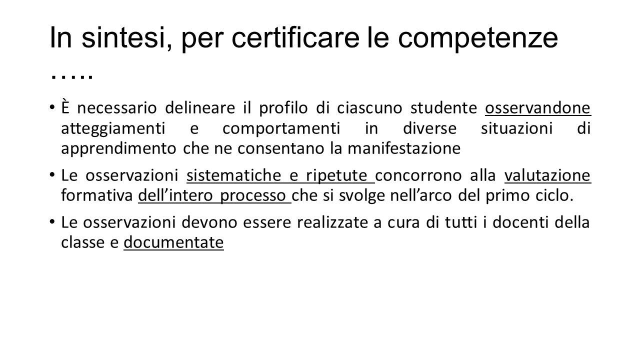 In sintesi, per certificare le competenze …..