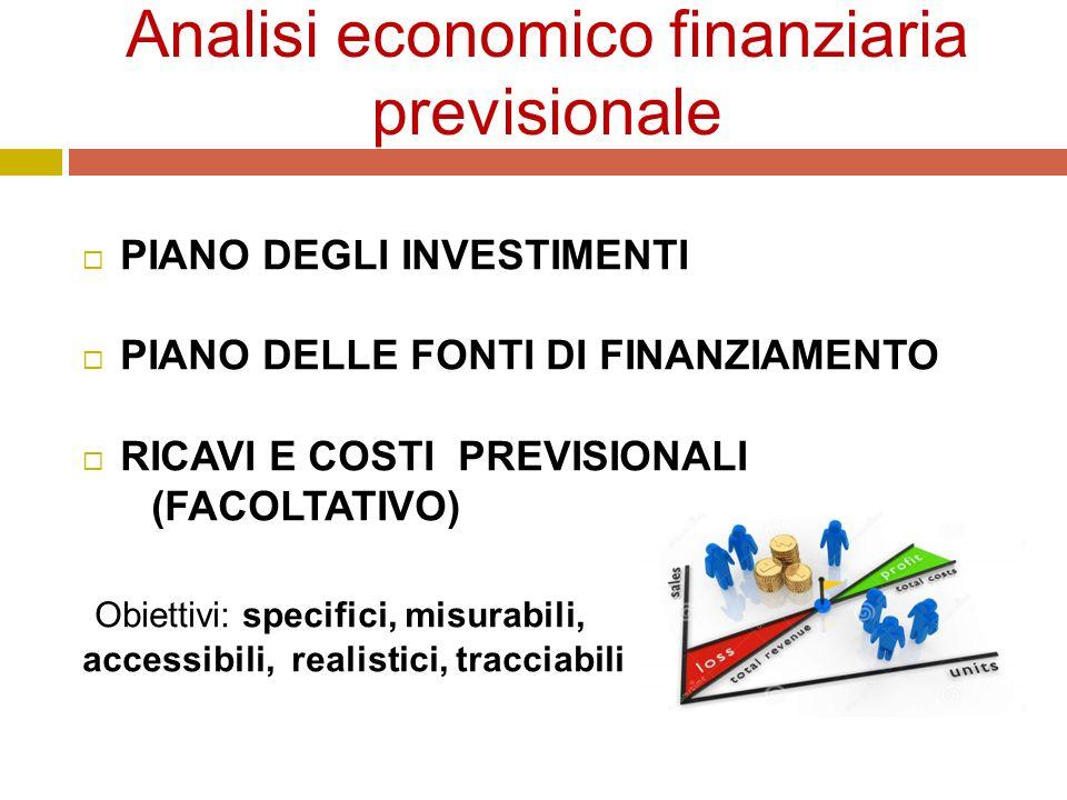 Analisi economico finanziaria previsionale  PIANO DEGLI INVESTIMENTI  PIANO DELLE FONTI DI FINANZIAMENTO  RICAVI E COSTI PREVISIONALI (FACOLTATIVO) Obiettivi: specifici, misurabili, accessibili, realistici, tracciabili