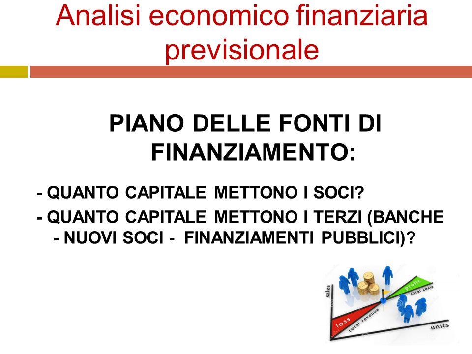 Analisi economico finanziaria previsionale PIANO DELLE FONTI DI FINANZIAMENTO: - QUANTO CAPITALE METTONO I SOCI.