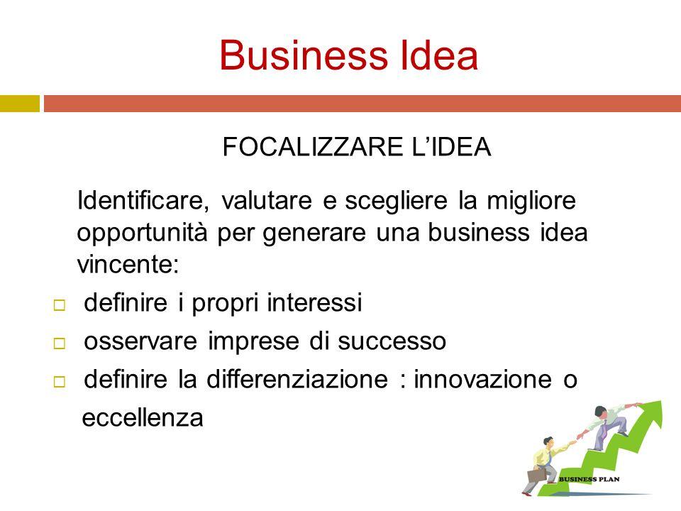 Business Idea FOCALIZZARE L'IDEA Identificare, valutare e scegliere la migliore opportunità per generare una business idea vincente:  definire i propri interessi  osservare imprese di successo  definire la differenziazione : innovazione o eccellenza