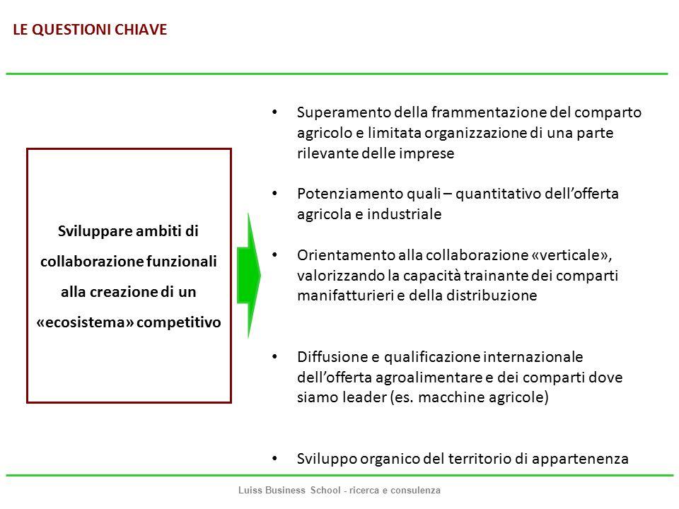 LINEE GUIDA STRATEGICHE PER LO SVILUPPO DELL'ECOSISTEMA La strategia è, di conseguenza, articolata su quattro assi Ciascuno di questi assi è articolato in un certo numero di linee di azione Luiss Business School - ricerca e consulenza Rafforzamento organizzativo e competitivo delle imprese agricole Potenziamento dell'offerta agroalimentare italiana Internazionalizzazione Sviluppo dell'ecosistema e competitività del territorio 1 2 3 4