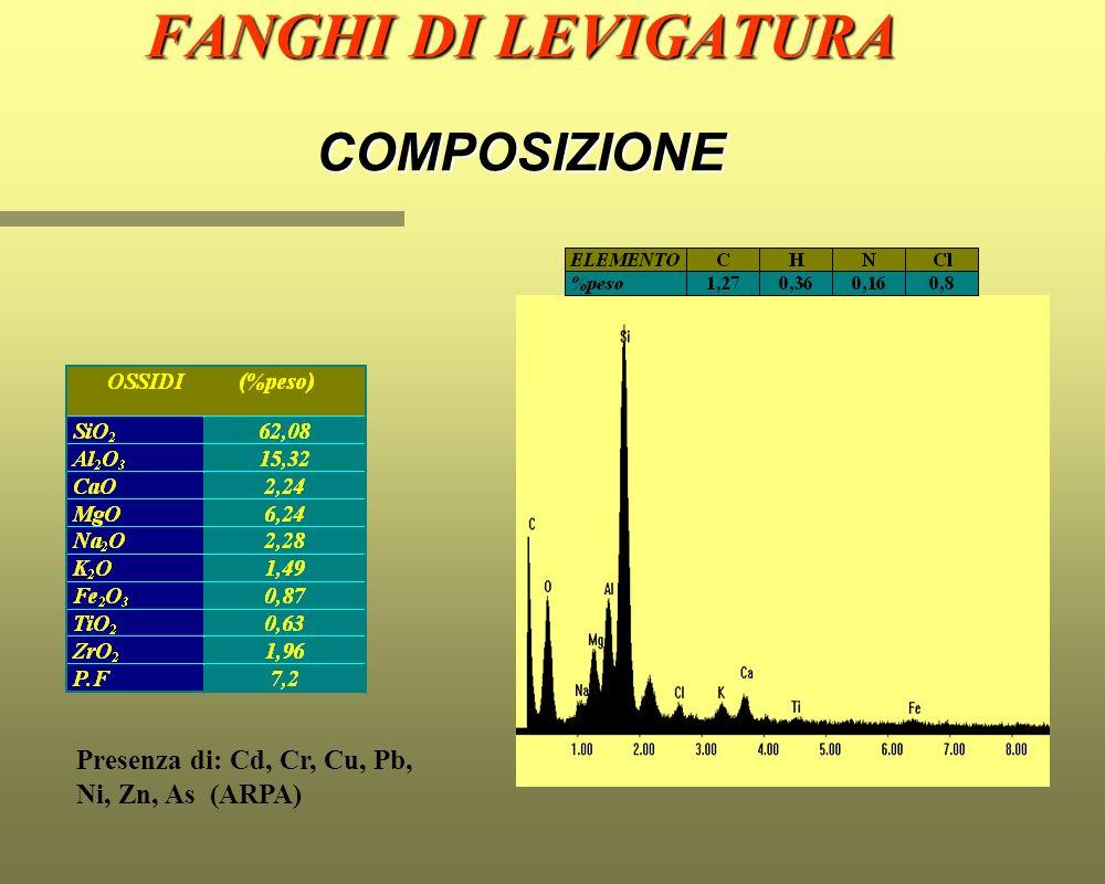 FANGHI DI LEVIGATURA COMPOSIZIONE Presenza di: Cd, Cr, Cu, Pb, Ni, Zn, As (ARPA)
