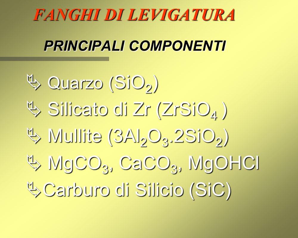 FANGHI DI LEVIGATURA PRINCIPALI COMPONENTI  Quarzo ( SiO 2 )  Silicato di Zr (ZrSiO 4 )  Mullite (3Al 2 O 3.2SiO 2 )  MgCO 3, CaCO 3, MgOHCl  Carburo di Silicio (SiC)