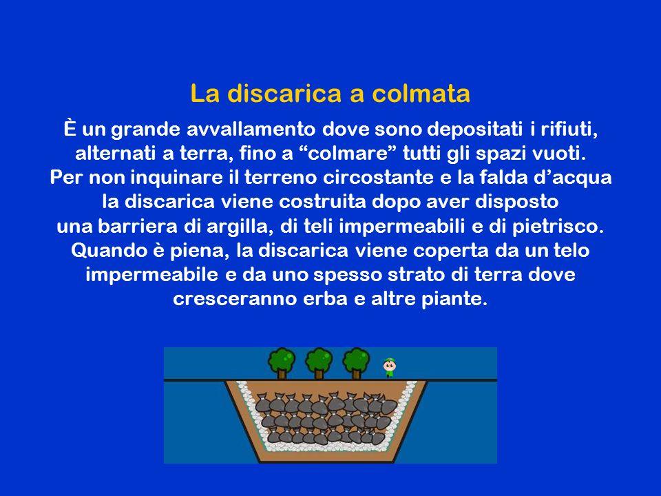 La discarica a terrazzamento A differenza della discarica a colmata , la discarica a terrazzamento è costruita su di una superficie piana, ma segue lo stesso procedimento di realizzazione per non inquinare il terreno e la falda d'acqua.