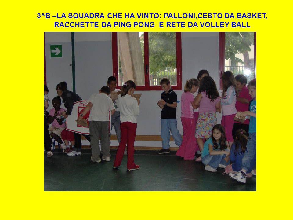 3^B –LA SQUADRA CHE HA VINTO: PALLONI,CESTO DA BASKET, RACCHETTE DA PING PONG E RETE DA VOLLEY BALL