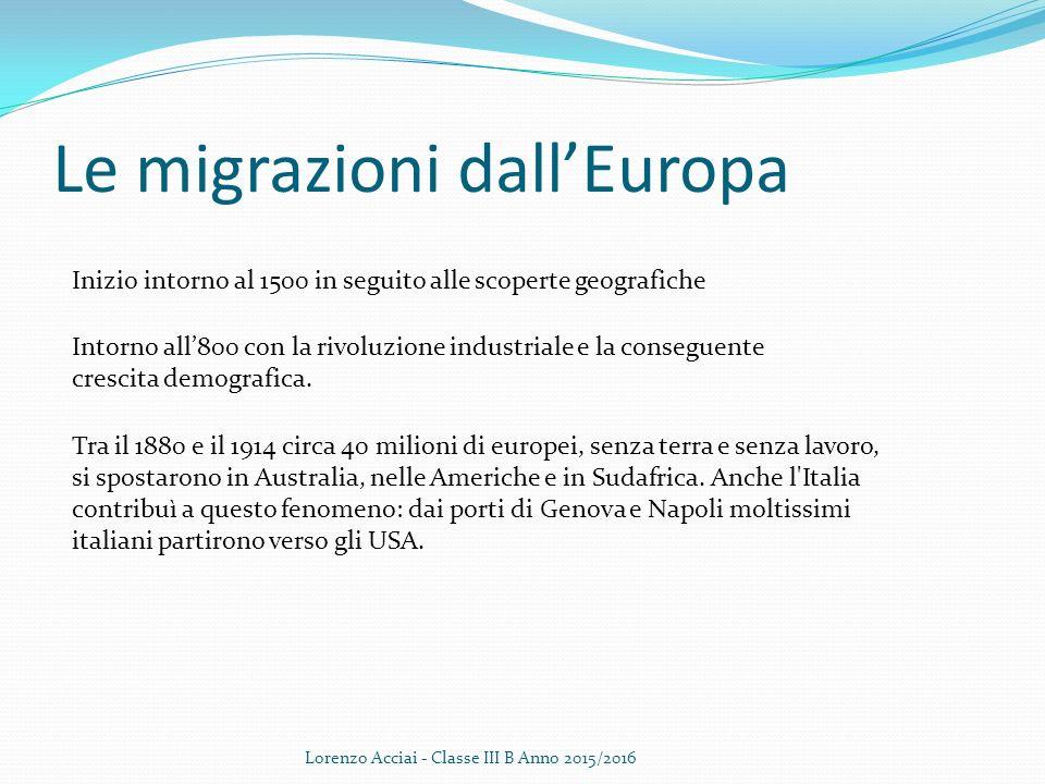 Le migrazioni dall'Europa Lorenzo Acciai - Classe III B Anno 2015/2016 Inizio intorno al 1500 in seguito alle scoperte geografiche Intorno all'800 con la rivoluzione industriale e la conseguente crescita demografica.