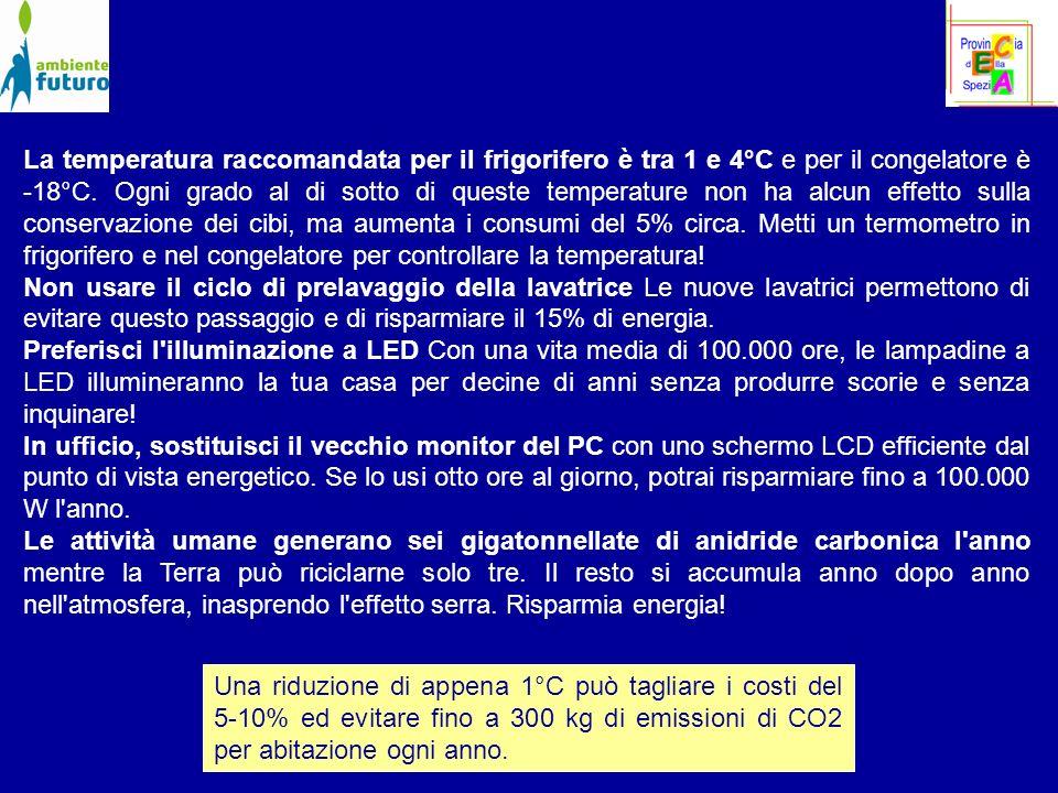 La temperatura raccomandata per il frigorifero è tra 1 e 4°C e per il congelatore è -18°C.
