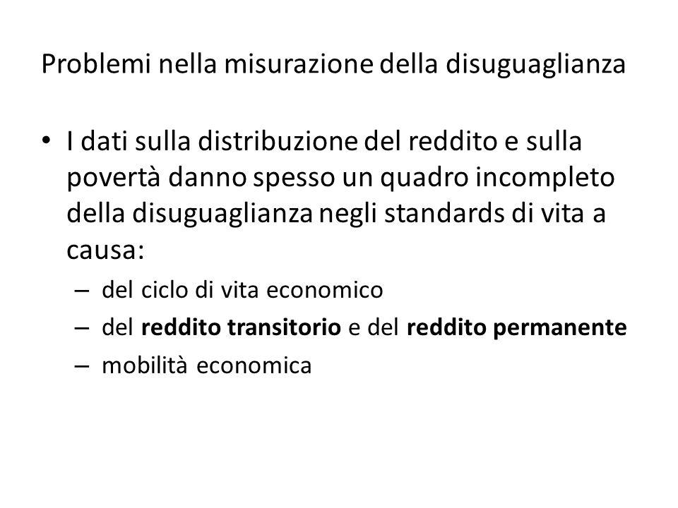 Problemi nella misurazione della disuguaglianza I dati sulla distribuzione del reddito e sulla povertà danno spesso un quadro incompleto della disuguaglianza negli standards di vita a causa: – del ciclo di vita economico – del reddito transitorio e del reddito permanente – mobilità economica
