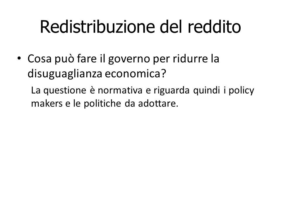 Redistribuzione del reddito Cosa può fare il governo per ridurre la disuguaglianza economica.