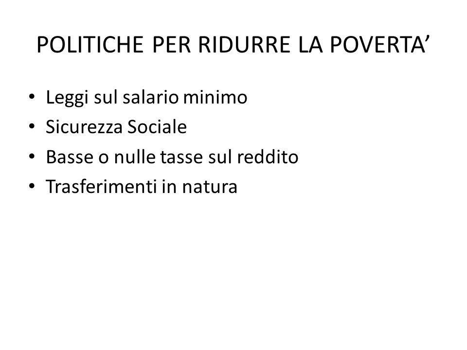 POLITICHE PER RIDURRE LA POVERTA' Leggi sul salario minimo Sicurezza Sociale Basse o nulle tasse sul reddito Trasferimenti in natura