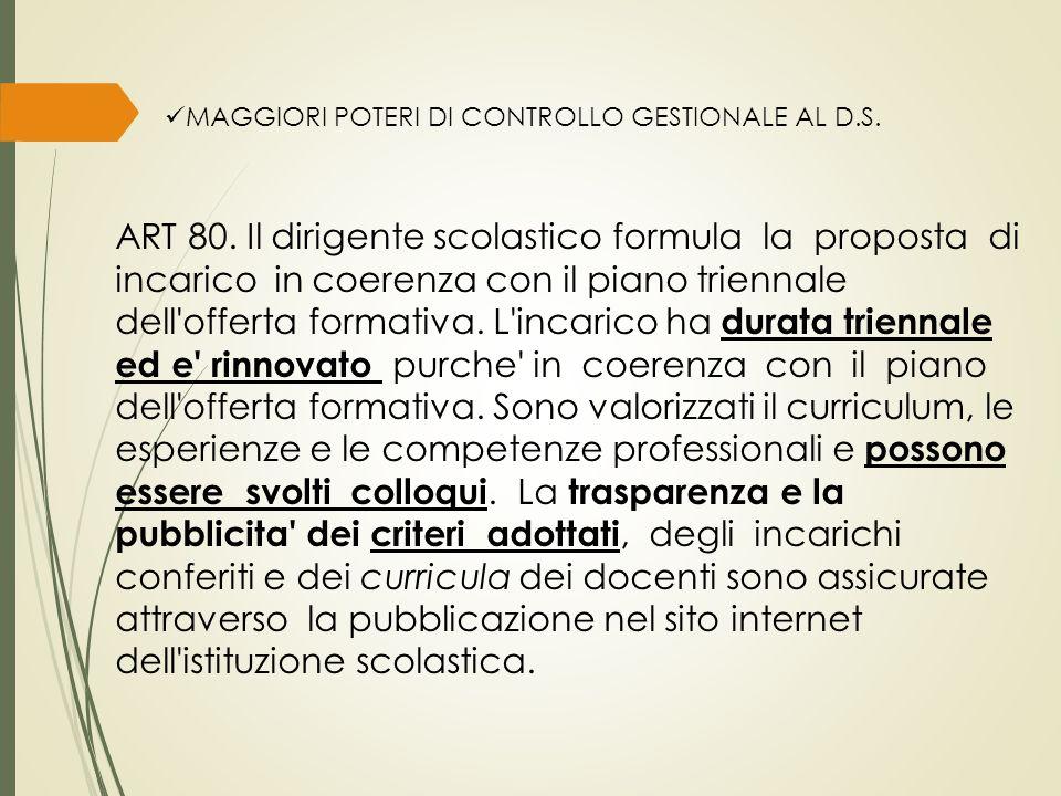 MAGGIORI POTERI DI CONTROLLO GESTIONALE AL D.S. ART 80.