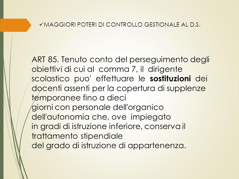 MAGGIORI POTERI DI CONTROLLO GESTIONALE AL D.S. ART 85.