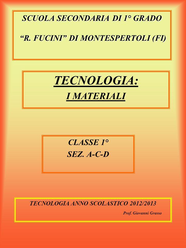 """SCUOLA SECONDARIA DI 1° GRADO """"R. FUCINI"""" DI MONTESPERTOLI (FI) CLASSE 1° SEZ. A-C-D TECNOLOGIA ANNO SCOLASTICO 2012/2013 Prof. Giovanni Grasso TECNOL"""