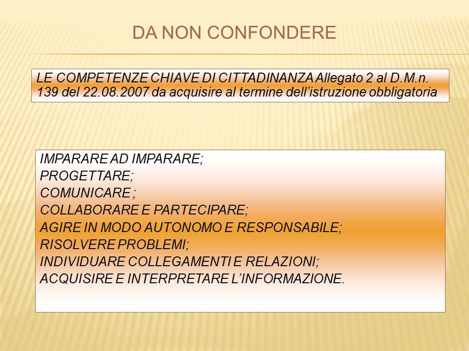 LE COMPETENZE CHIAVE DI CITTADINANZA Allegato 2 al D.M.n.