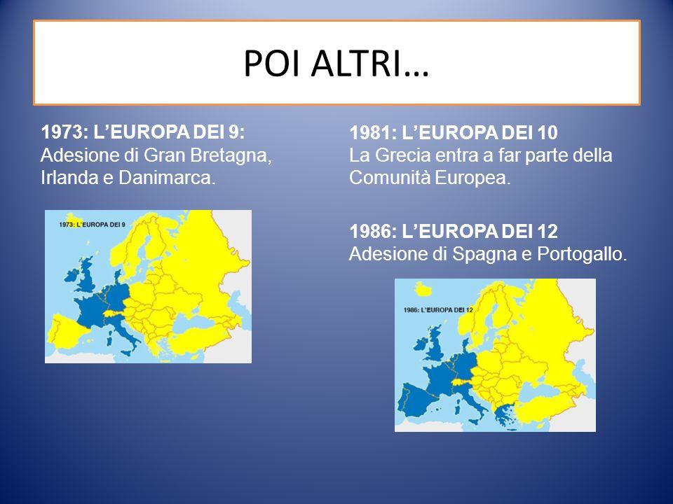 POI ALTRI… 1973: L'EUROPA DEI 9: Adesione di Gran Bretagna, Irlanda e Danimarca.