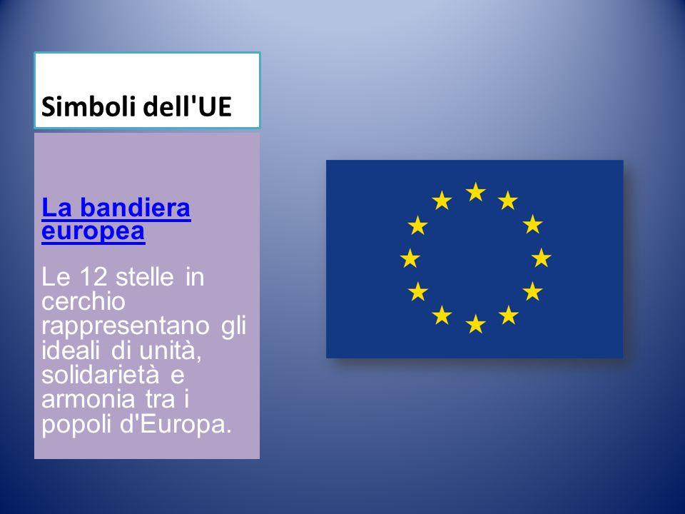 Simboli dell UE La bandiera europea Le 12 stelle in cerchio rappresentano gli ideali di unità, solidarietà e armonia tra i popoli d Europa.