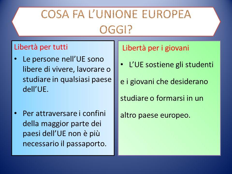 Libertà per tutti Le persone nell'UE sono libere di vivere, lavorare o studiare in qualsiasi paese dell'UE.