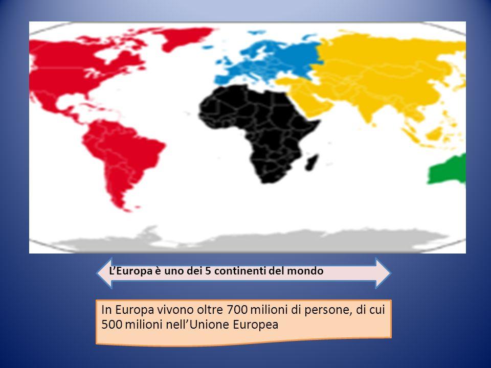 L'Europa è uno dei 5 continenti del mondo In Europa vivono oltre 700 milioni di persone, di cui 500 milioni nell'Unione Europea