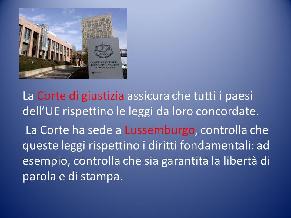 La Corte di giustizia assicura che tutti i paesi dell'UE rispettino le leggi da loro concordate.