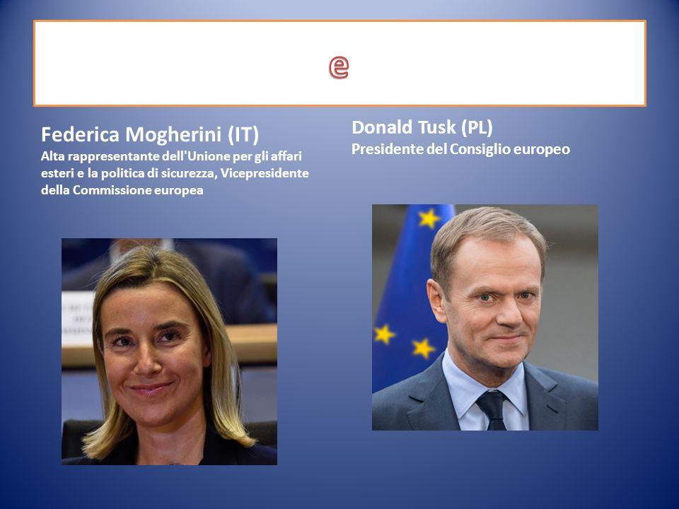 Federica Mogherini (IT) Alta rappresentante dell Unione per gli affari esteri e la politica di sicurezza, Vicepresidente della Commissione europea Donald Tusk (PL) Presidente del Consiglio europeo