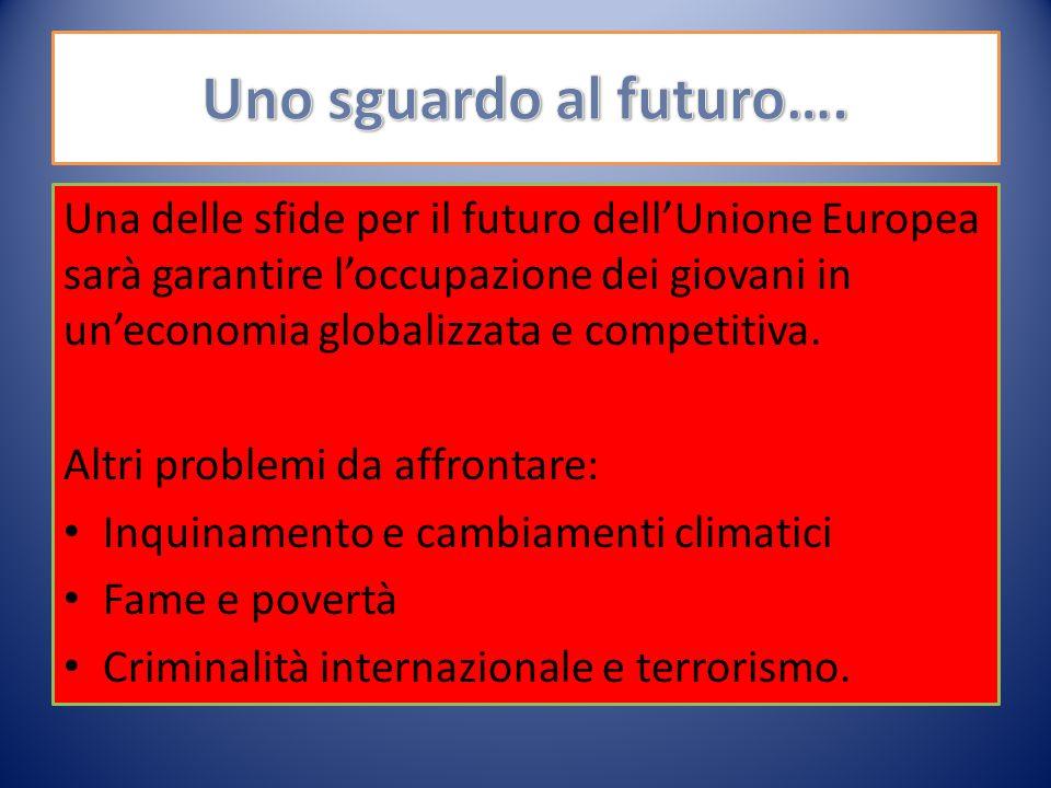 Una delle sfide per il futuro dell'Unione Europea sarà garantire l'occupazione dei giovani in un'economia globalizzata e competitiva.