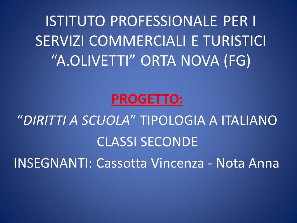 ISTITUTO PROFESSIONALE PER I SERVIZI COMMERCIALI E TURISTICI A.OLIVETTI ORTA NOVA (FG) PROGETTO: DIRITTI A SCUOLA TIPOLOGIA A ITALIANO CLASSI SECONDE INSEGNANTI: Cassotta Vincenza - Nota Anna