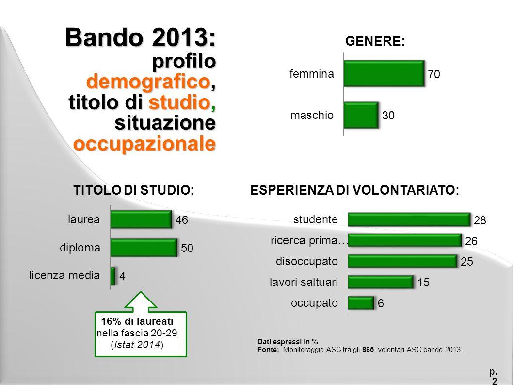 Bando 2013: esperienze all'estero e conoscenza delle lingue p.
