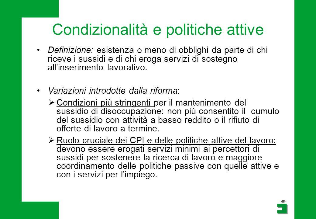 Condizionalità e politiche attive Definizione: esistenza o meno di obblighi da parte di chi riceve i sussidi e di chi eroga servizi di sostegno all'inserimento lavorativo.