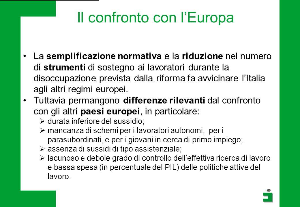 La semplificazione normativa e la riduzione nel numero di strumenti di sostegno ai lavoratori durante la disoccupazione prevista dalla riforma fa avvicinare l'Italia agli altri regimi europei.