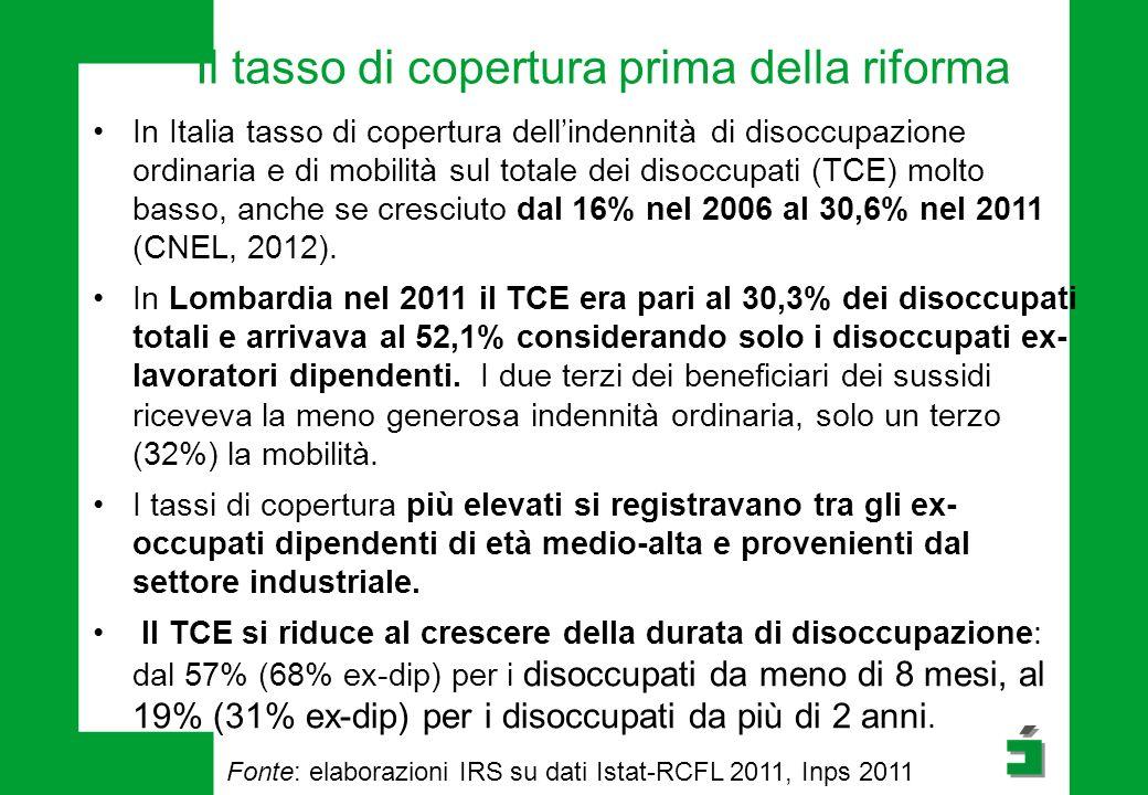 Il tasso di copertura prima della riforma In Italia tasso di copertura dell'indennità di disoccupazione ordinaria e di mobilità sul totale dei disoccupati (TCE) molto basso, anche se cresciuto dal 16% nel 2006 al 30,6% nel 2011 (CNEL, 2012).