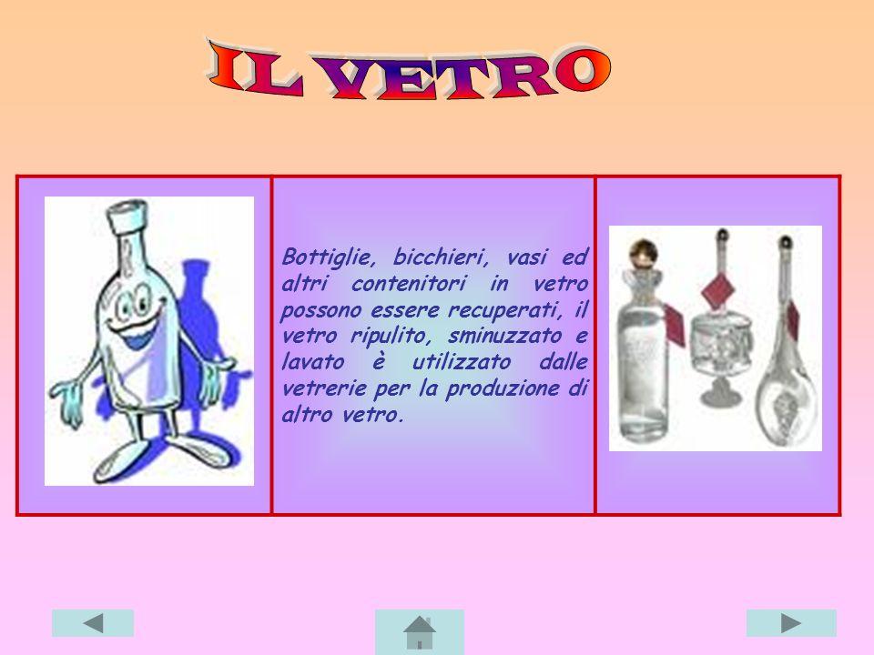 Bottiglie, bicchieri, vasi ed altri contenitori in vetro possono essere recuperati, il vetro ripulito, sminuzzato e lavato è utilizzato dalle vetrerie per la produzione di altro vetro.