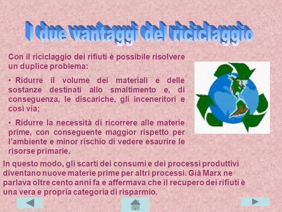 Con 500 lattine si costruisce una bicicletta; Con 500 lattine si costruisce una bicicletta; Con 15 bottiglie di plastica si fa un maglione; Con 15 bottiglie di plastica si fa un maglione; Con 13 scatolette in acciaio si fabbrica una pentola; Con 13 scatolette in acciaio si fabbrica una pentola; 9 scatoloni su dieci sono prodotti con cartone riciclato; 9 scatoloni su dieci sono prodotti con cartone riciclato; Il 60% delle bottiglie è di vetro riciclato; Il 60% delle bottiglie è di vetro riciclato; L'industria italiana del mobile ricicla 2/3 milioni di tonnellate di legno; L'industria italiana del mobile ricicla 2/3 milioni di tonnellate di legno; Dalle buste di plastica si possono fare abiti da sposa e costumi da bagno; Dalle buste di plastica si possono fare abiti da sposa e costumi da bagno; Tritando i bicchierini del caffè, si producono le matite.