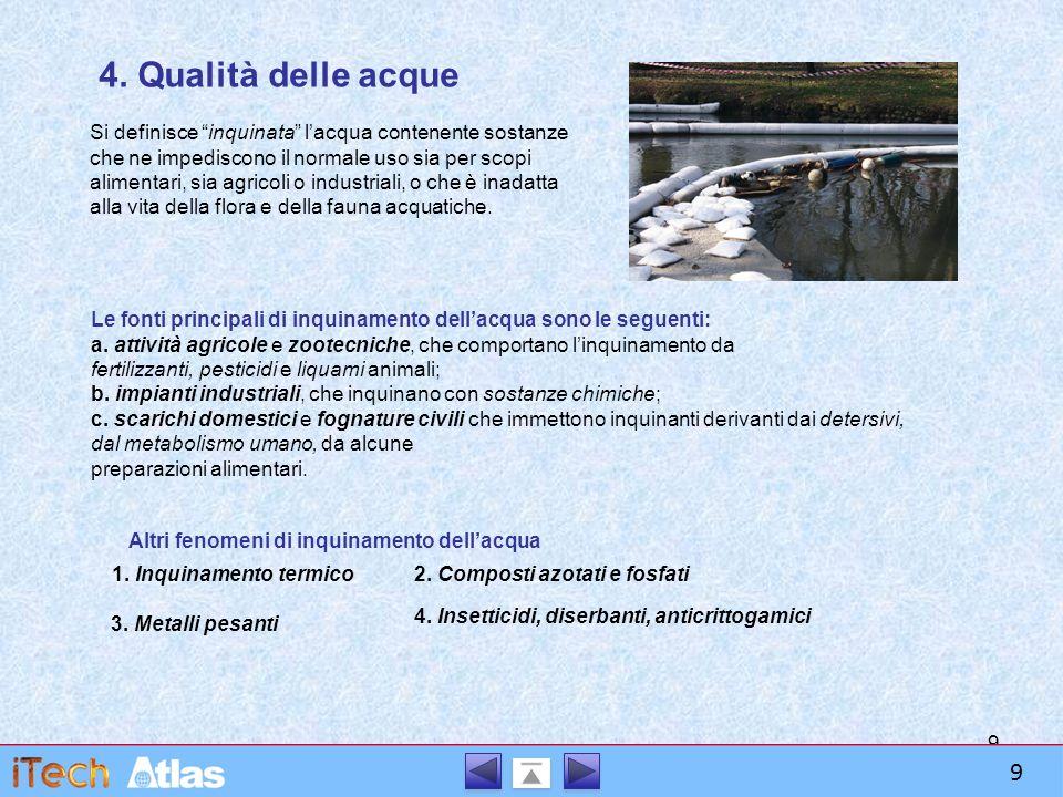 """9 4. Qualità delle acque Si definisce """"inquinata"""" l'acqua contenente sostanze che ne impediscono il normale uso sia per scopi alimentari, sia agricoli"""