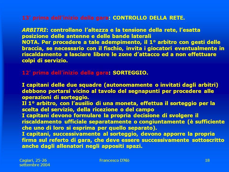 Cagiari, 25-26 settembre 2004 Francesco D Alò18 13' prima dell'inizio della gara: CONTROLLO DELLA RETE.