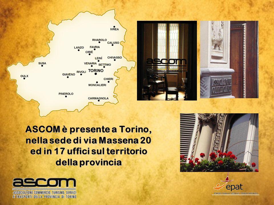 ASCOM è presente a Torino, nella sede di via Massena 20 ed in 17 uffici sul territorio della provincia