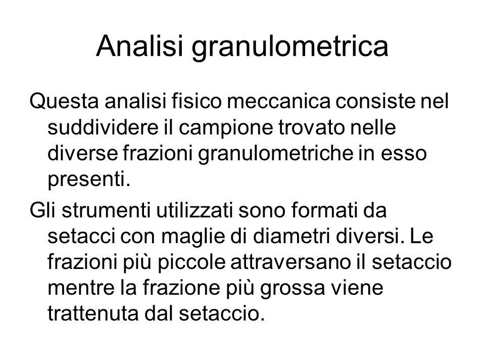 Analisi granulometrica Questa analisi fisico meccanica consiste nel suddividere il campione trovato nelle diverse frazioni granulometriche in esso presenti.